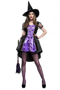Womens Halloween High Low Witch Costume Purple