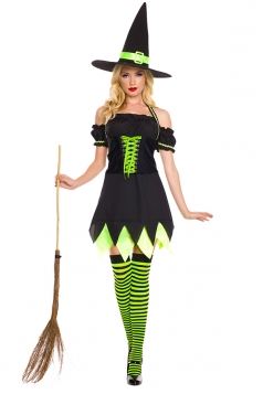 Womens Halloween Striped Witch Costume Black