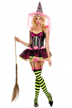 Womens Halloween Magic Witch Costume Pink