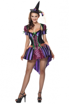 Womens Sexy High Low Halloween Witch Costume Purple