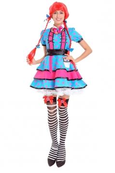 Womens Pink Polka Dot Beer Festival Girl Costume Blue