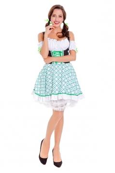 Halloween Bavaria Oktoberfest Dirndl Beer Girl Costume With Apron Green
