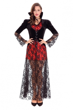 Elegant Halloween Vampire Lace Costume For Women Black