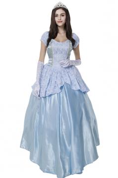 Womens Deluxe Halloween Cinderella Princess Costume Blue
