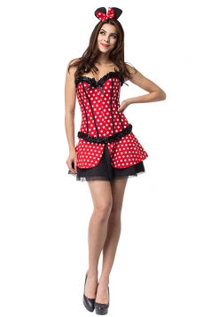 Womens Sexy Lace-Up Corset Minnie Mouse Halloween Costume Red