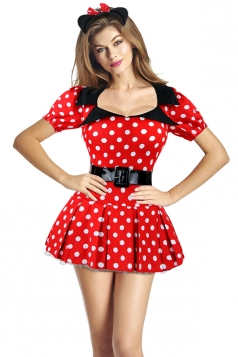 Womens Polka Dots Minnie Mouse Dress Halloween Costume Red