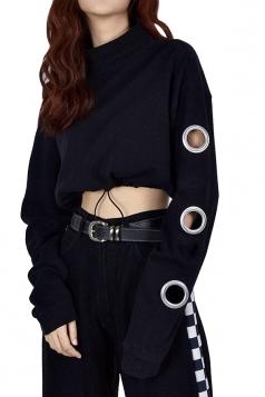 Sexy Draw String Waist Long Sleeve Crop Sweatshirt Black