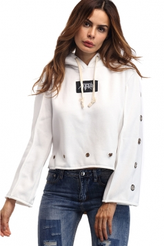 Women Sexy Eyelet Hollow Out Draw String Hoodie White