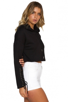 Black Lace Up Long Sleeve Draw String Plain Hoodie