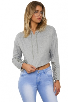 Gray Lace Up Long Sleeve Draw String Plain Hoodie