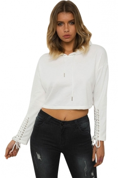 White Lace Up Long Sleeve Draw String Plain Hoodie