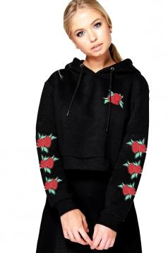 Women Flower Embroidered Draw String Crop Hoodie Black