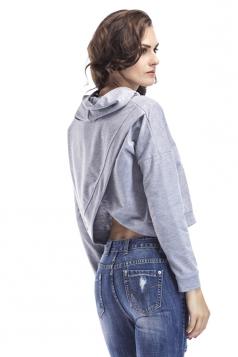 Women Cross Back Draw String Long Sleeve Plain Hoodie Gray