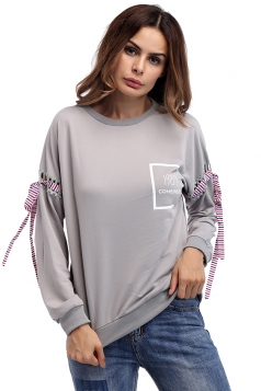 Women Crew Neck Lace Up Sleeve Sweatshirt Gray