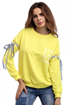 Women Crew Neck Lace Up Sleeve Sweatshirt Yellow
