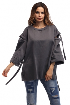 Women Crew Neck Flare Sleeve Over Size Sweatshirt Dark Gray