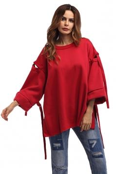 Women Crew Neck Flare Sleeve Over Size Sweatshirt Red