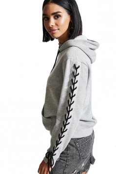 Women Lace Up Long Sleeve Draw String Hoodie Gray