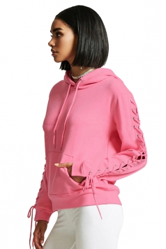 Women Lace Up Long Sleeve Draw String Hoodie Pink