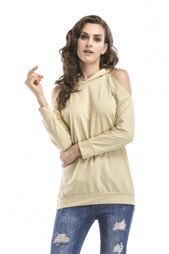 Women Cold Shoulder Long Sleeve Plain Hoodie With Pocket Apricot
