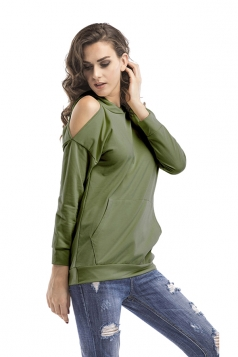 Women Cold Shoulder Long Sleeve Plain Hoodie With Pocket Green