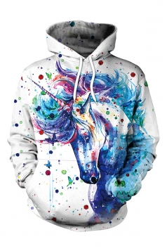 Women Unicorn Printed Draw String Front Pocket Pullover Hoodie White