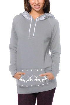 Women Long Sleeve Reindeer Printed Pocket Christmas Hoodie Gray