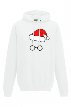 Women Christmas Hat Printed Pullover Hoodiie White