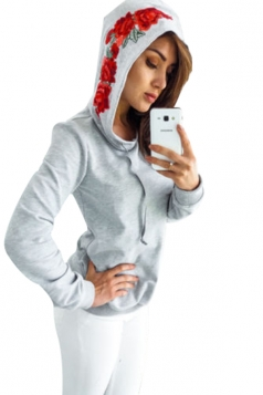 Women Flower Embroidered Pullover Hoodie Gray