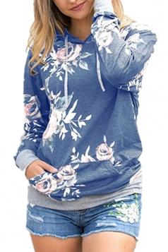 Women Floral Printed Long Sleeve Pocket Pullover Hoodie Blue