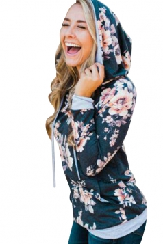 Women Floral Printed Long Sleeve Pocket Pullover Hoodie Black