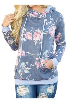 Women Floral Printed Long Sleeve Pocket Pullover Hoodie Gray
