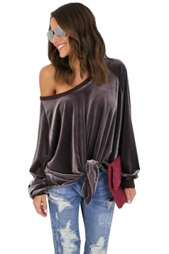 Women Sexy One Shoulder Long Sleeve Bow-Tie Sweatshirt Brown