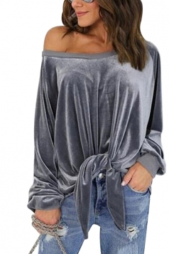 Women Sexy One Shoulder Long Sleeve Bow-Tie Sweatshirt Gray