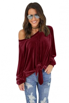 Women Sexy One Shoulder Long Sleeve Bow-Tie Sweatshirt Ruby