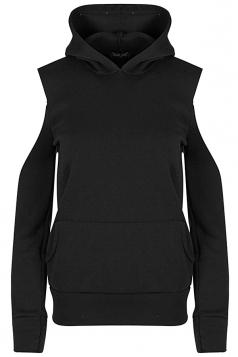 Women Cold Shoulder Fleece Inside Front Pocket Hoodie Black