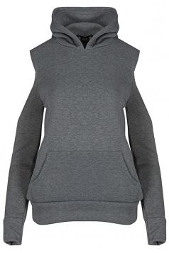 Women Cold Shoulder Fleece Inside Front Pocket Hoodie Dark Gray