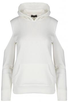 Women Cold Shoulder Fleece Inside Front Pocket Hoodie White