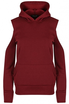 Women Cold Shoulder Fleece Inside Front Pocket Hoodie Ruby