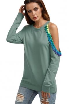 Women Asymmetric Cold Shoulder Long Sleeve Sweatshirt Green