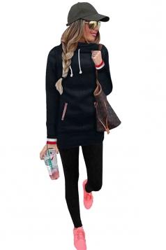 Slim Hooded Plain Long Sleeve Tunic Hoodie Sweatshirt Black