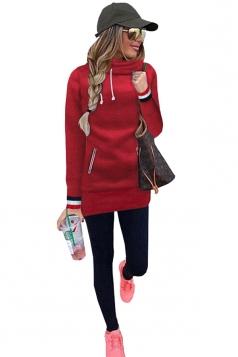 Slim Hooded Plain Long Sleeve Tunic Hoodie Sweatshirt Red