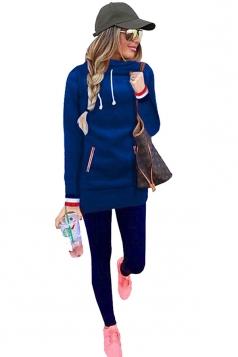 Slim Hooded Plain Long Sleeve Tunic Hoodie Sweatshirt Sapphire Blue