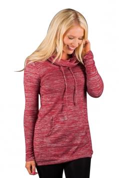 Women Casual Drawstring Plain Hoodie With Kangaroo Pocket Red