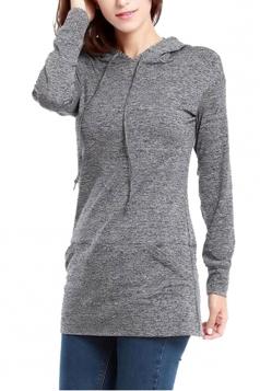 Women Drawstring Long Sleeve Plain Hoodie Gray