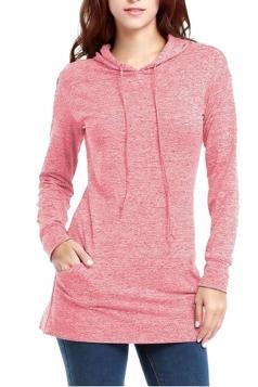 Women Drawstring Long Sleeve Plain Hoodie Pink