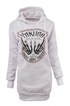 Women Drawstring Printed Lined Hoodie White