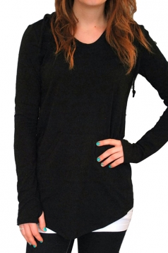 Women Plain Drawstring Hoodied Sweatshirt With Kangaroo Pocket Black