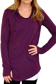Women Plain Drawstring Hoodied Sweatshirt With Kangaroo Pocket Ruby