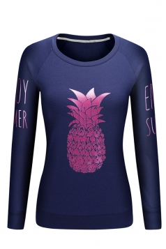 Women Crew Neck Long Sleeve Pineapple Printed Sweatshirt Navy Blue